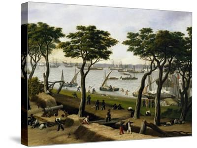 Establishing an Argentine Military Camp Along River Parana, Detail-Candido Lopez-Stretched Canvas Print