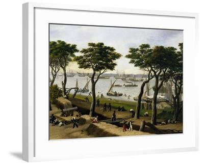 Establishing an Argentine Military Camp Along River Parana, Detail-Candido Lopez-Framed Giclee Print