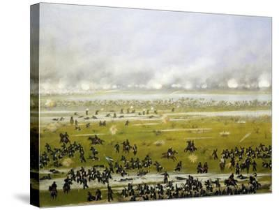 Column of Argentine Forces Led by General Emilio Mitre, Launching Attack in Curupayty-Candido Lopez-Stretched Canvas Print