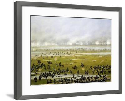 Column of Argentine Forces Led by General Emilio Mitre, Launching Attack in Curupayty-Candido Lopez-Framed Giclee Print