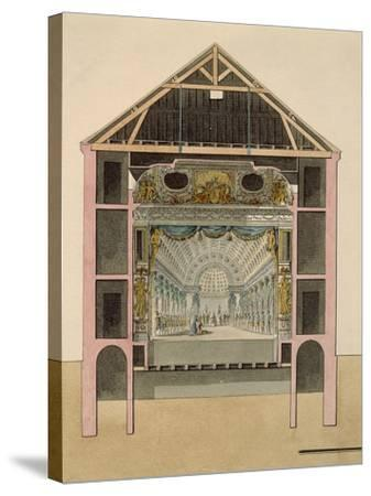 Cross Section of Theatre Stage, 1781-Claudio Linati-Stretched Canvas Print