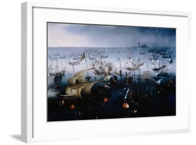 The Spanish Armada Defeated in the English Channel in July 1588-Hendrick van de Sande Bakhuyzen-Framed Giclee Print