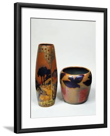 Cameo Glass Vases with Globular Bodies, 1890-1900-Emile Galle-Framed Giclee Print