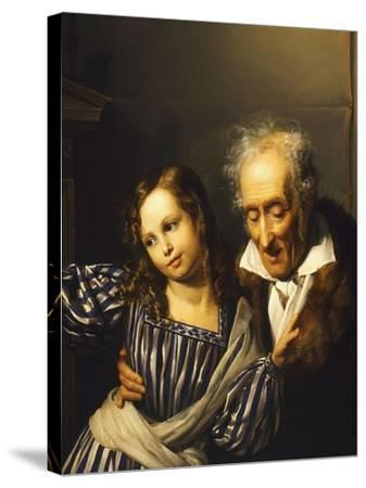 Old Man Pointing Out Maria Luigia's Herm to His Granddaughter, Circa 1830-Giuseppe Moricci-Stretched Canvas Print