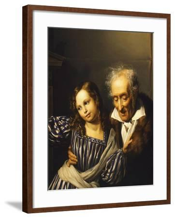 Old Man Pointing Out Maria Luigia's Herm to His Granddaughter, Circa 1830-Giuseppe Moricci-Framed Giclee Print