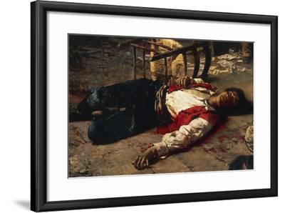 Wounded on the Ground, 1889-Michele Cammarano-Framed Giclee Print