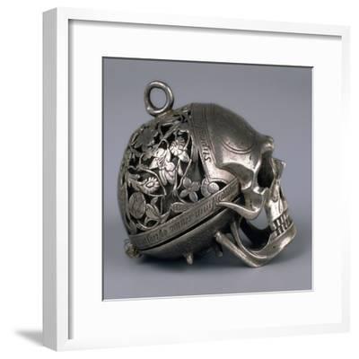 Skull-Shaped Clock, Silver and Gilt Brass, Geneva, Switzerland-Jean Rousseau-Framed Giclee Print