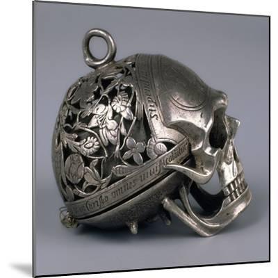 Skull-Shaped Clock, Silver and Gilt Brass, Geneva, Switzerland-Jean Rousseau-Mounted Giclee Print