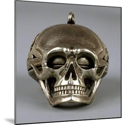 Skull-Shaped Clock, Silver and Gilt Brass, Geneva, Switzerland-Jean Sauve-Mounted Giclee Print