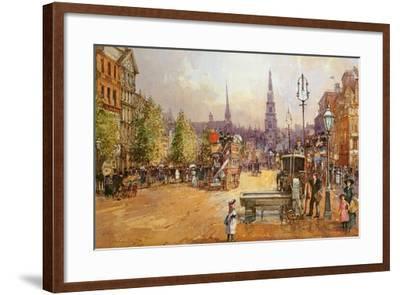 Cab Stand in the Strand-John White-Framed Giclee Print