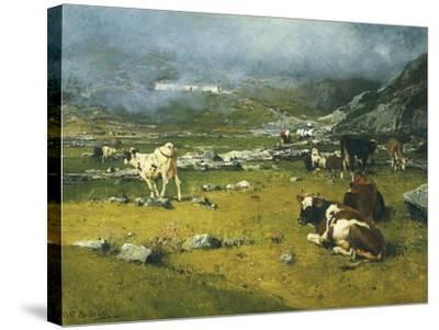 Mountain Landscape with Cows Grazing in Upper Area of Biella-Lorenzo Di Bicci-Stretched Canvas Print