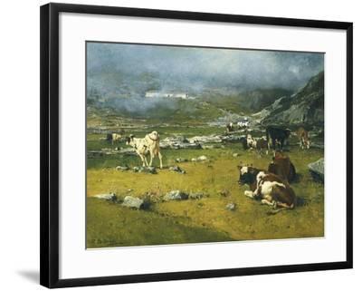Mountain Landscape with Cows Grazing in Upper Area of Biella-Lorenzo Di Bicci-Framed Giclee Print