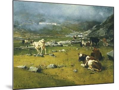 Mountain Landscape with Cows Grazing in Upper Area of Biella-Lorenzo Di Bicci-Mounted Giclee Print