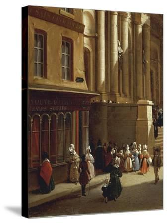 Paris Church of Saint-Roch in 1840-Moreno Gonzales-Stretched Canvas Print
