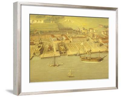 The Royal Dockyard at Woolwich, Near London, 1790-Nicholas Pocock-Framed Giclee Print