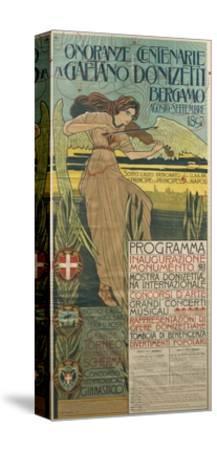 Italy, Bergamo, Poster Commemorating 100th Anniversary of Birth of Composer Gaetano Donizetti--Stretched Canvas Print