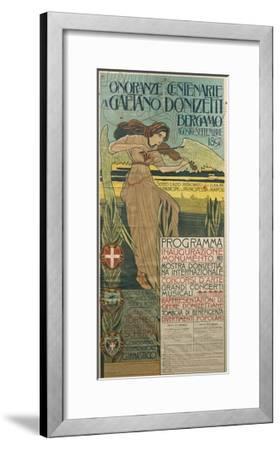 Italy, Bergamo, Poster Commemorating 100th Anniversary of Birth of Composer Gaetano Donizetti--Framed Giclee Print