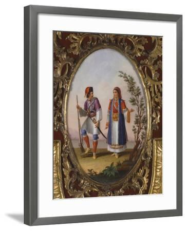 Medallion with Scene Depicting Traditional Dress from Campania, Italy-Raimondo Compagnini-Framed Giclee Print