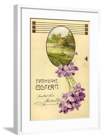 Präge Litho Glückwunsch Ostern, Haus, Bäume, Veilchen--Framed Giclee Print