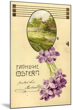 Präge Litho Glückwunsch Ostern, Haus, Bäume, Veilchen--Mounted Giclee Print