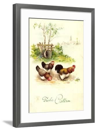 Glückwunsch Ostern, Hahn Mit Hennen Auf Dem Hof--Framed Giclee Print