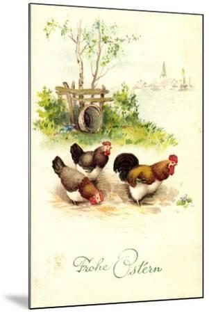 Glückwunsch Ostern, Hahn Mit Hennen Auf Dem Hof--Mounted Giclee Print