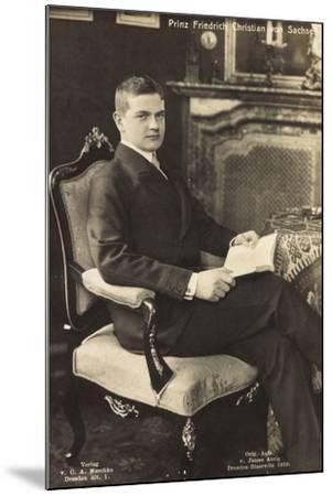 Prinz Friedrich Christian Von Sachsen Mit Buch--Mounted Giclee Print