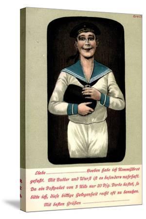 Künstler Seemann Mit Einem Brotleib in Den Händen--Stretched Canvas Print