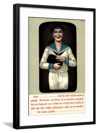 Künstler Seemann Mit Einem Brotleib in Den Händen--Framed Giclee Print