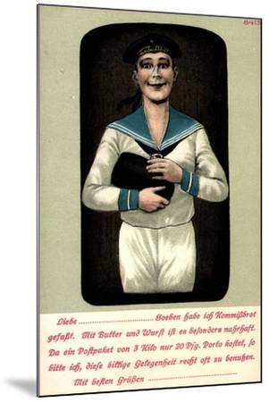 Künstler Seemann Mit Einem Brotleib in Den Händen--Mounted Giclee Print