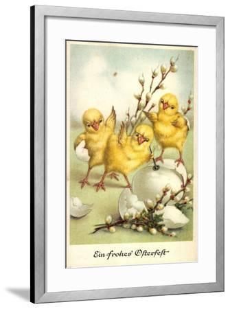 Glückwunsch Ostern, Küken Mit Weidenkätzchen--Framed Giclee Print