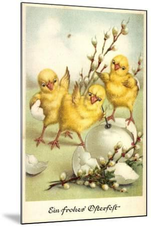 Glückwunsch Ostern, Küken Mit Weidenkätzchen--Mounted Giclee Print