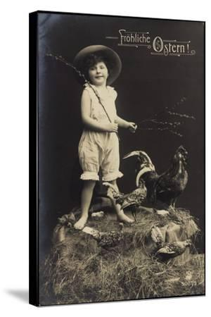 Glückwunsch Ostern, Kind Mit Hut, Ausgestopfter Hahn--Stretched Canvas Print