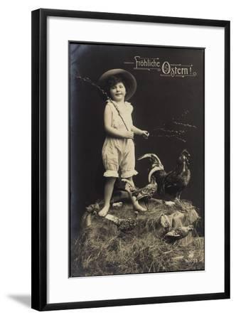 Glückwunsch Ostern, Kind Mit Hut, Ausgestopfter Hahn--Framed Giclee Print