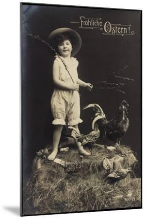 Glückwunsch Ostern, Kind Mit Hut, Ausgestopfter Hahn--Mounted Giclee Print
