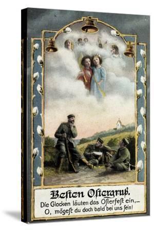 Glückwunsch Ostern, Soldaten Beim Träumen, Engel--Stretched Canvas Print