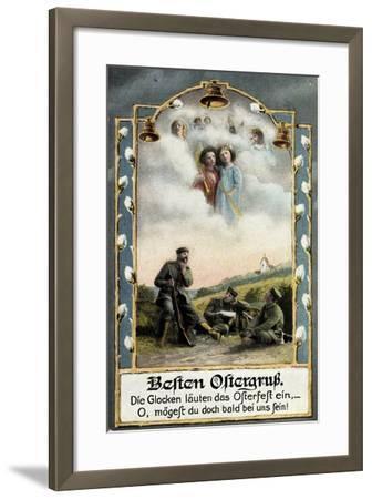 Glückwunsch Ostern, Soldaten Beim Träumen, Engel--Framed Giclee Print