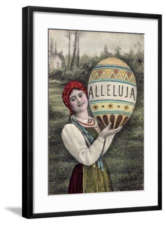 Künstler Glückwunsch Ostern, Alleluja, Frau, Tracht--Framed Giclee Print