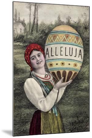 Künstler Glückwunsch Ostern, Alleluja, Frau, Tracht--Mounted Giclee Print