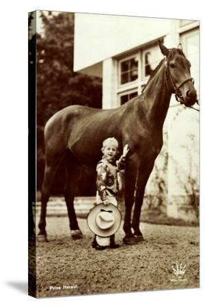 Prins Harald, Prinz Harald Von Norwegen Als Cowboy, Kleines Kind, Pferd--Stretched Canvas Print