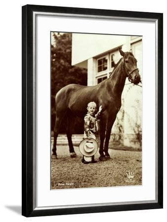 Prins Harald, Prinz Harald Von Norwegen Als Cowboy, Kleines Kind, Pferd--Framed Giclee Print
