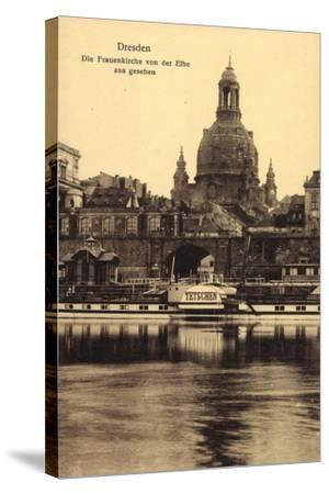 Dresden, Frauenkirche, Elbe, Dampfer Tetschen--Stretched Canvas Print