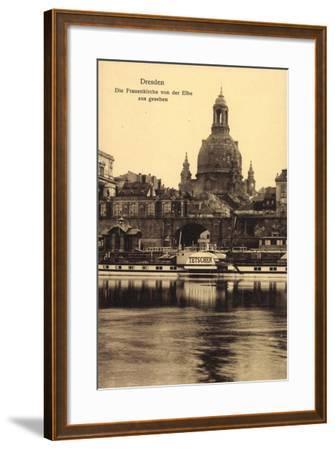 Dresden, Frauenkirche, Elbe, Dampfer Tetschen--Framed Giclee Print