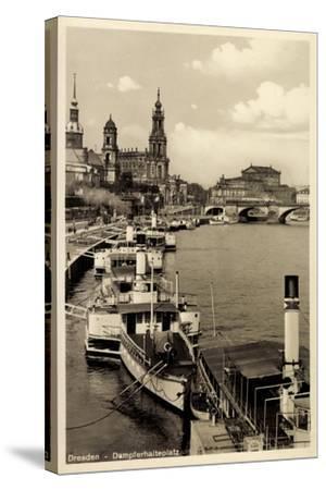 Dresden, Stadtblick, Dampfer Pillnitz, Kirche,Brücke--Stretched Canvas Print