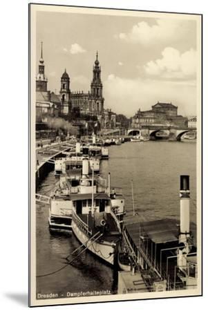 Dresden, Stadtblick, Dampfer Pillnitz, Kirche,Brücke--Mounted Giclee Print