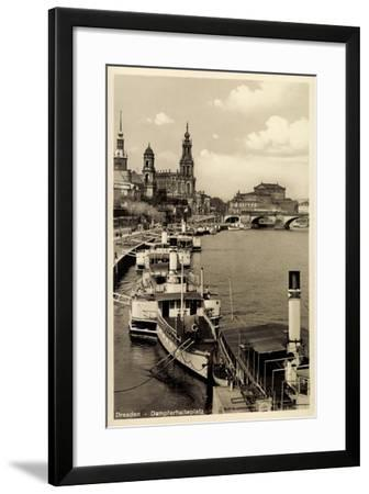 Dresden, Stadtblick, Dampfer Pillnitz, Kirche,Brücke--Framed Giclee Print