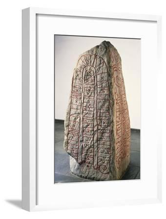 Viking Civilization, Runestone with Futhark Inscription--Framed Giclee Print