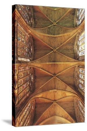 Spain, Castilla Y Leon, Leon Cathedral, Nave Ceiling--Stretched Canvas Print