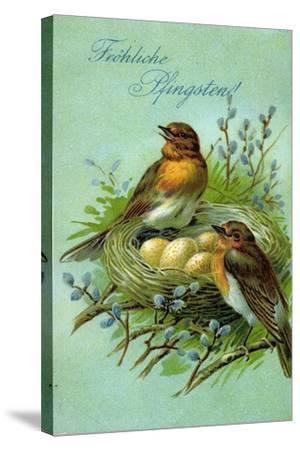 Präge Fröhliche Pfingsten, Vögel, Nest, Eier--Stretched Canvas Print