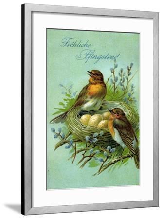 Präge Fröhliche Pfingsten, Vögel, Nest, Eier--Framed Giclee Print